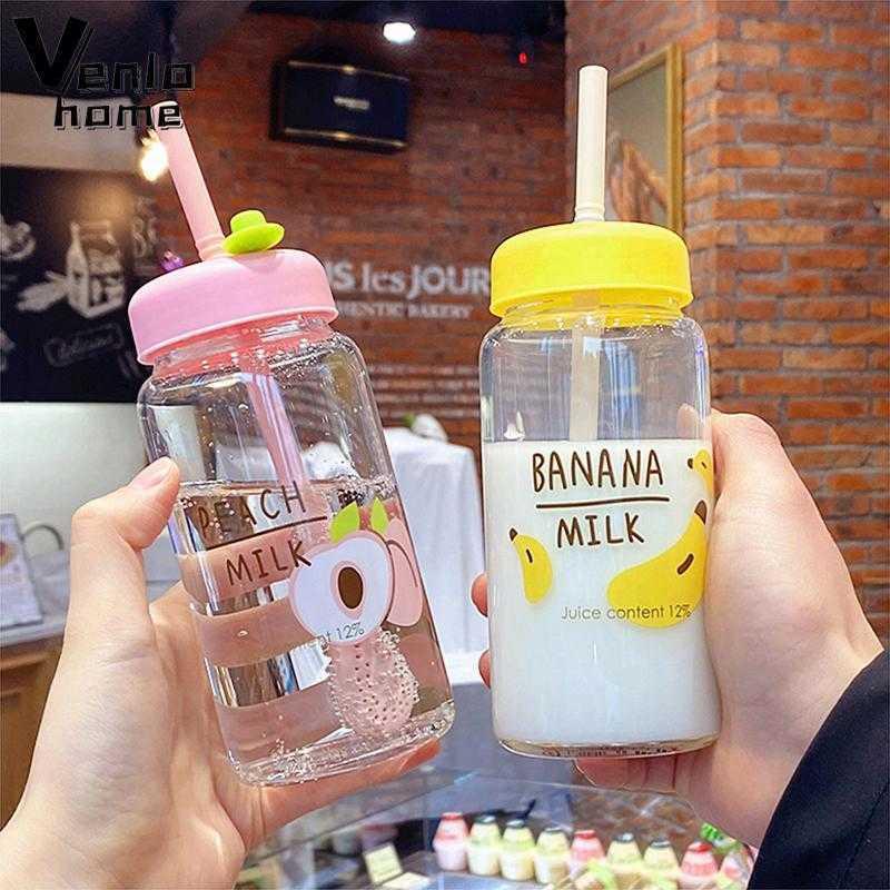 Bouteille d'eau de lait de fruits à la fraise Kawaii avec paille mignonne dessin animé étanche bouteilles buvères bouteilles d'eau de verre transparent tasse 210610
