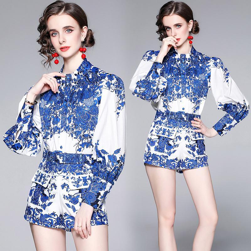 Toptan Yaz Pist 2 Adet Bayan Bayanlar Setleri Vintage Çiçek Kaplan Baskı Yaka Uzun Kollu Üst Gömlek Bluz Şort Eşofman Kıyafetler