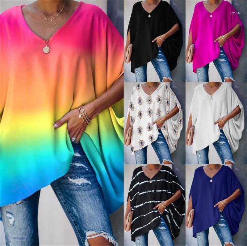 Tshirts Loose V 넥 넥타이 염료 Womens 탑 풀오버 인쇄 된 홈 여성 의류 Batwing Sleeve Womens