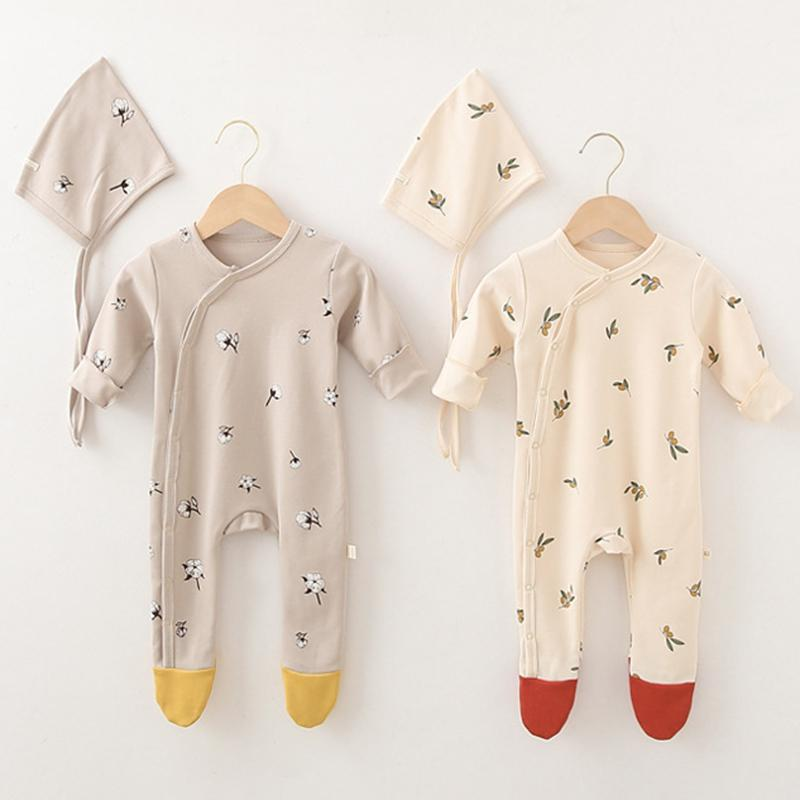 Spring Autumn Newborn Baby Boys Girl Clothes Toddler Baby Boys Girls Romper Cotton Long Sleeve Jumpsuit Hats 210315