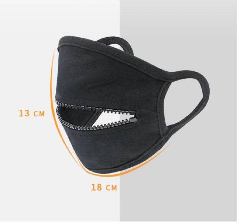 Cara con cremallera Mascarillas de moda Creative Cremallera Design Fácil de beber Lavable Reutilizable CUBIERTA DE PROTECCIÓN DE PERSECTOR M M