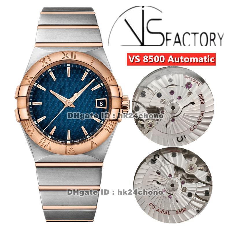 2021 vs 38 mm acero inoxidable CAL.8500 Reloj automático para hombre 123.20.38.21.03.001 Blue Dial Rose Gold Steel Pulsera de dos tonos Gents Watche