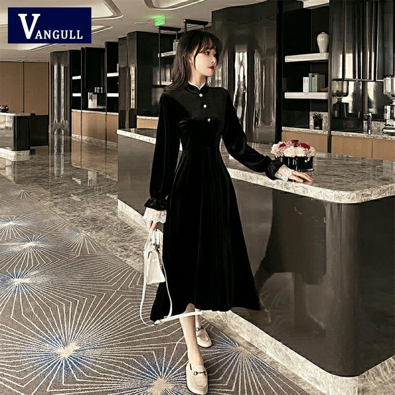 Vangull Black Velvet Dress Vintage Fashion Elegant Full Sleeve Warm Autumn Winter Dress Women Midi Vestido Roupa Feminina 4XL