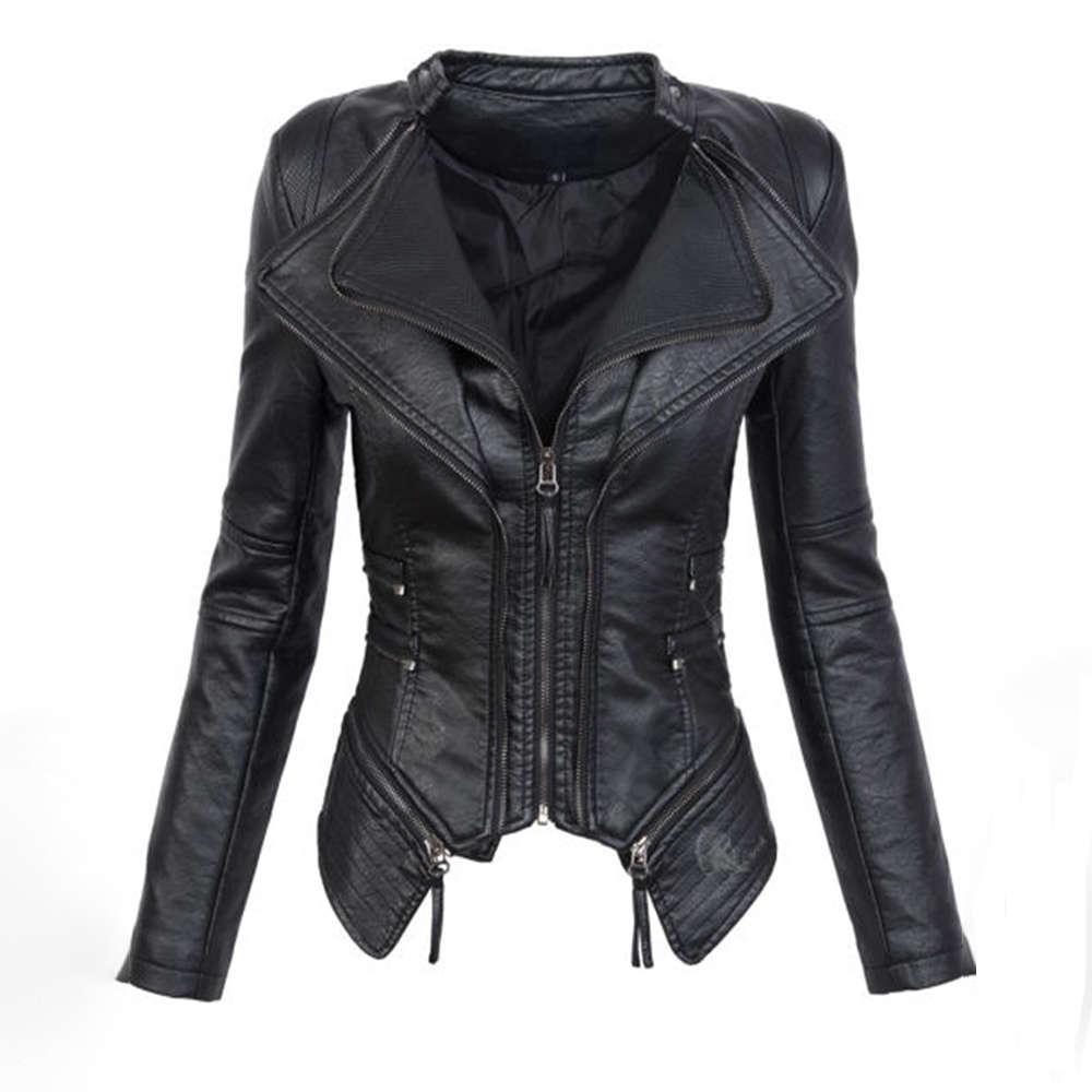 Черная готический факультет из искусственной кожи PU куртка женщин зимняя осень модный мотоцикл куртка пальто панк молнии верхняя одежда плюс размер падение пальто
