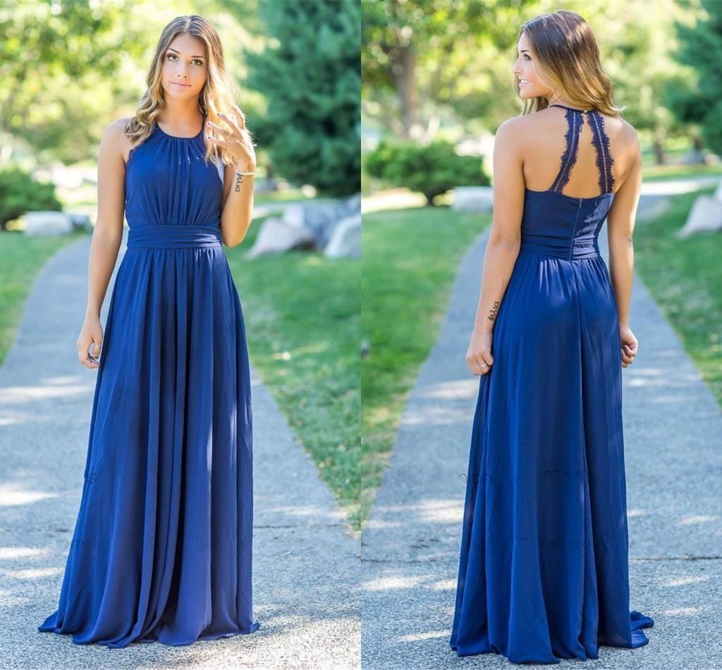 Zarif Ülke Tarzı Kraliyet Mavi Şifon Gelinlik Modelleri Uzun Halter Jewel Boyun Ruffles Kat Uzunluk Artı Boyutu Düğün Misafir Elbise Hizmetçi Onur Törenlerinde