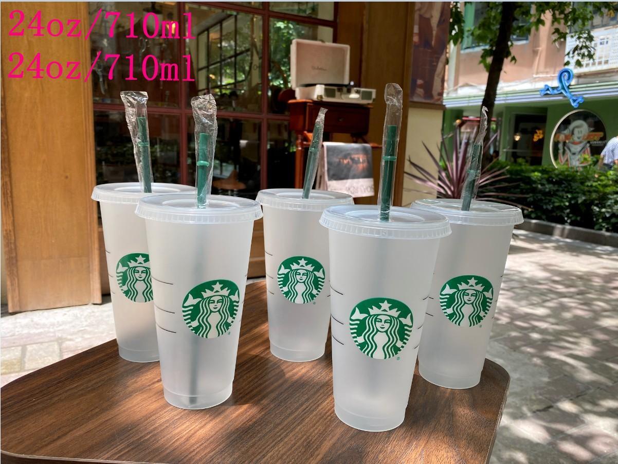 24 أوقية / 710ML ستاربكس بلاستيك بهلوان قابلة لإعادة الاستخدام شرب شرب القاع السفلية مع القش المعبأة بشكل فردي 500 قطع من قبل دي إتش إل