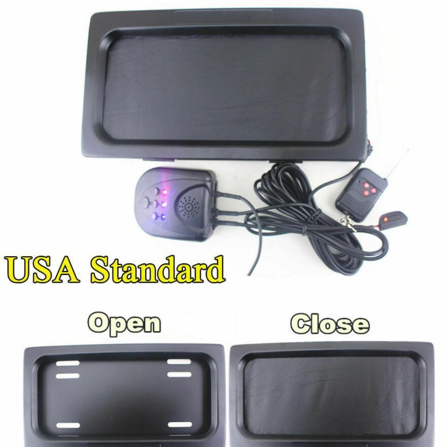 Versione US Auto Car Wide-Away Shutter Cover Up Telaio della targa Stealth Electric Stealth con telecomando 315 * 170 * 25.8mm 12x6 pollici