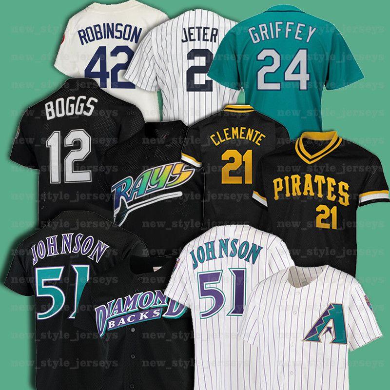 21 Roberto Clemente 51 Randy Johnson 42 Jackie Robinson 12 Wade Boggs 레트로 남성 Mitchell Ness Baseball Jersey Z18