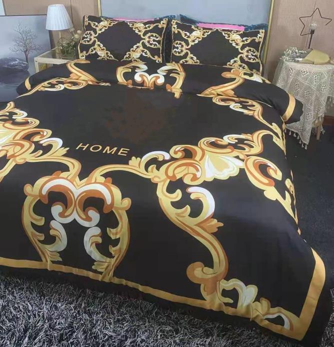 Designer 4 pcs conjuntos de cama de algodão tecido queen size size europeu estilo colcha capa travesseiro chapa chapa chapa edredom conformador capas