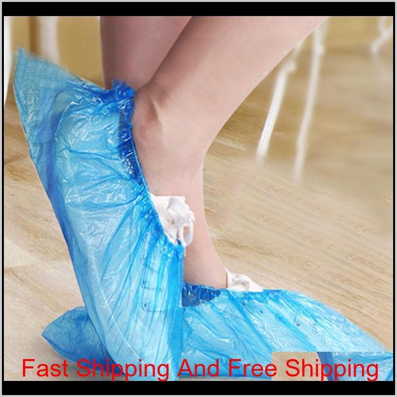 Plastik Su Geçirmez Tek Kullanımlık Ayakkabı Yağmur Günü Kapakları Halı Zemin Koruyucu Mavi Temizleme Ayakkabı Kapak QYLMH HOMES2011