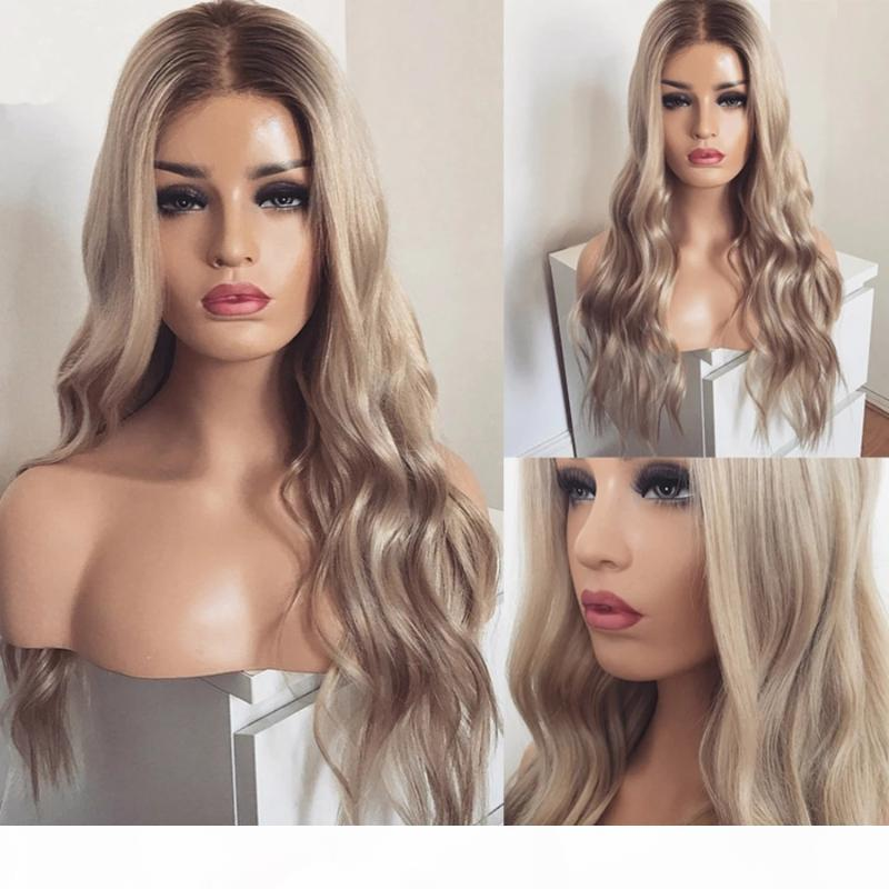 Grey Transparent Lace Full Lace Human Hair Wigs Peruvian Ombre Cream Blonde Silk Top Platinum Front Wigs Wavy for Women Prepluck