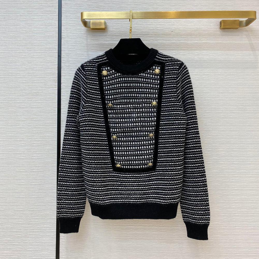 High-end Moda Retro 100% Kaşmir Kazak Kadın Örme Kazak 2021 Yeni Sonbahar O-Boyun Altın Düğmeler Çizgili Rahat J YWP8