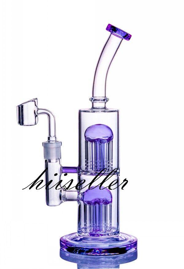 9,8-Zoll-Glas-Wasser-Bongs-Rauch-Wasser-Rohr-Kopf-DAB-Recycler-Öl-Righen Armbaum Perc einzigartige Bong-Wasserhaare mit 14mm Banger