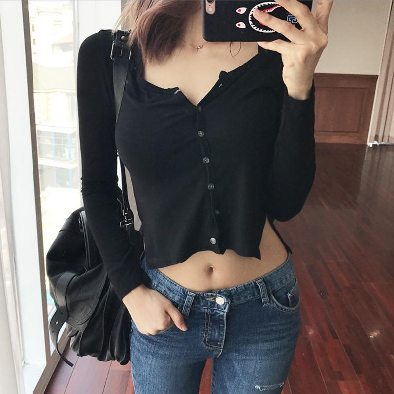 Botón de la camiseta de las mujeres delgado de alta calidad de alta calidad t shirt mujeres algodón elástico básico casual tops cortos de manga larga sexy delgada ver a través de