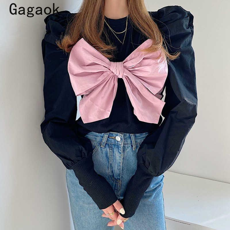 Gagaok Femmes High Street Sweat-shirt Printemps Automne Patchwork Sans manches bouffantes à encolure O Coulous O Coulous Sweas Slim Chic Sauvage Pullovers 210526