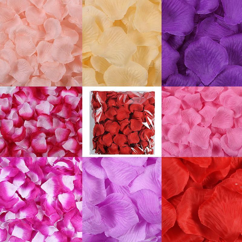 20 colori Artificial Silk Rose Petals Petals Simulazione Fiore Festa di nozze Matrimonio Letto multiplo Disponibile Petali di fiori BWD5501
