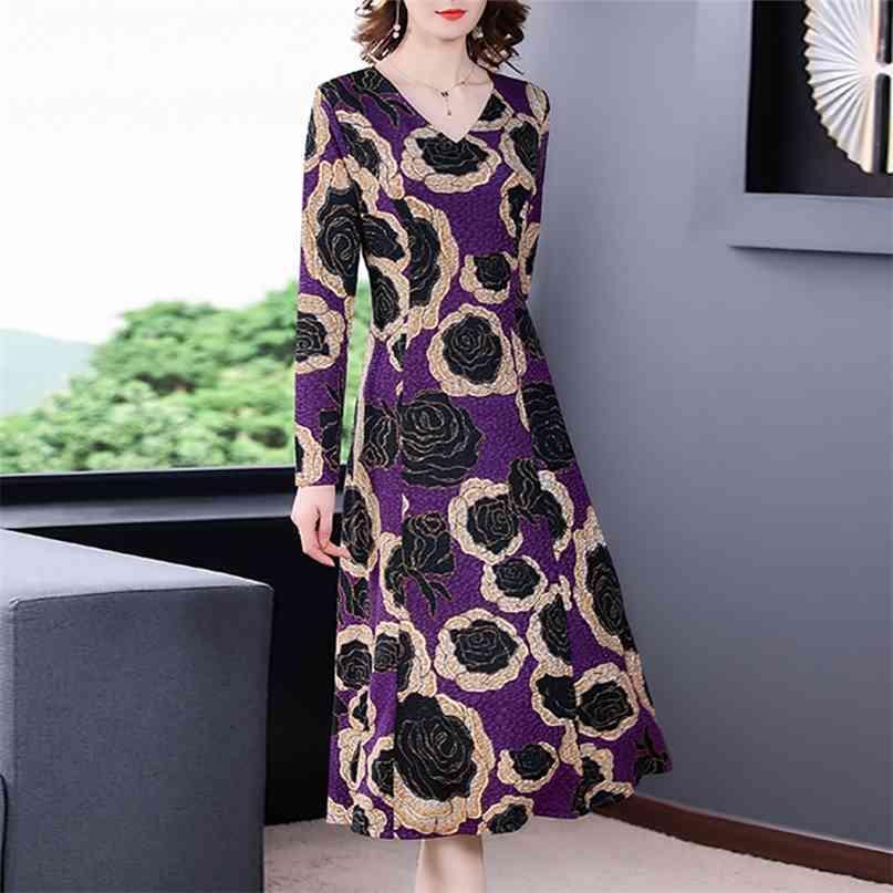 Frauen lila floral lässig midi kleider frühling vintage 4xl plus größe langarm kleid elegante bodycon party vestidos 210603