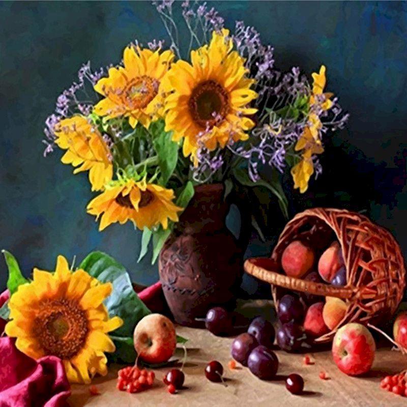 Peintures Gatyztory peinture par chiffres Kits pour adultes Sunflower Huile Image numérique Pays-Pays-Pays-Pays Decor Décor Art 60x75cm Cadre