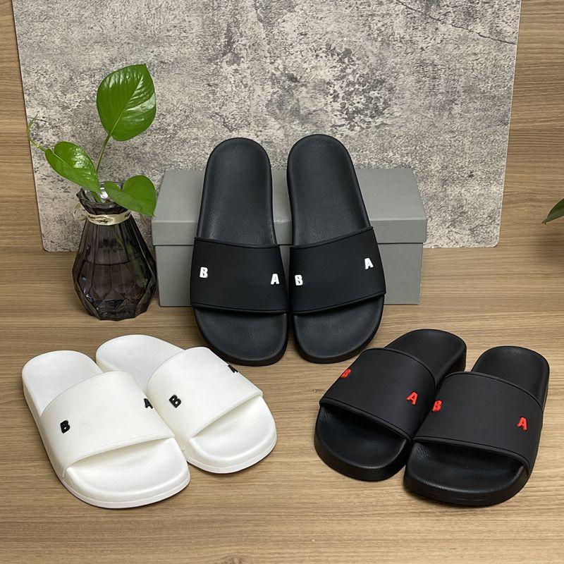 Высочайшее качество мужские женские тапочки трехмерных шрифтов обувь скользящая летняя мода широкие плоские сандалии флип флоп с коробкой размером 36-46