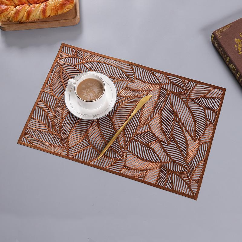 Runner Tableau haut de gamme EL Restaurant Gold Feuille d'or Set de plateforme isolée à la chaleur, décoration simple nordique, plateplate de style occidental creux