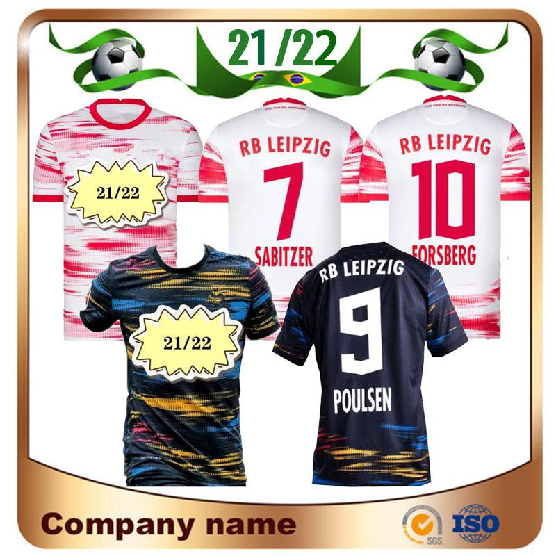 2021 Versão do jogador RBL Leipziges Jerseys 20/21 Bundesliga League Clube Olmo Poulsen Adams Forsberg Shirts Nkunku Sabitzer Futebol Uniforme