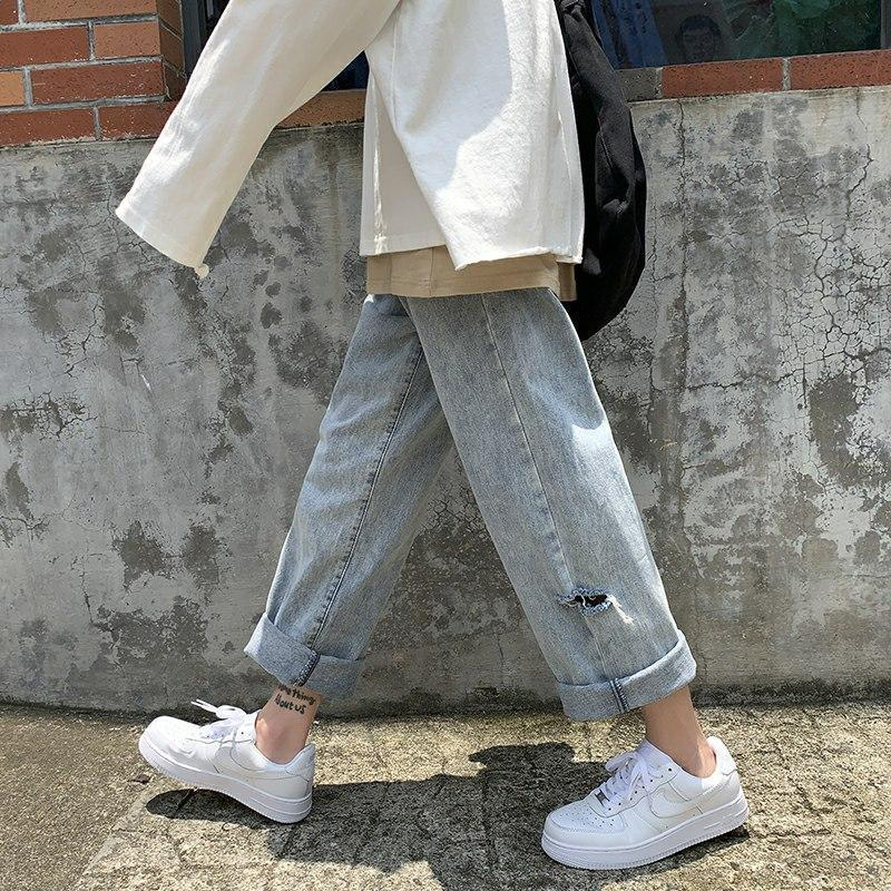 Women's Jeans Woman Pants Spring Loose Straight Cropped Casual Handsome Long Pantalones Vaqueros Mujer