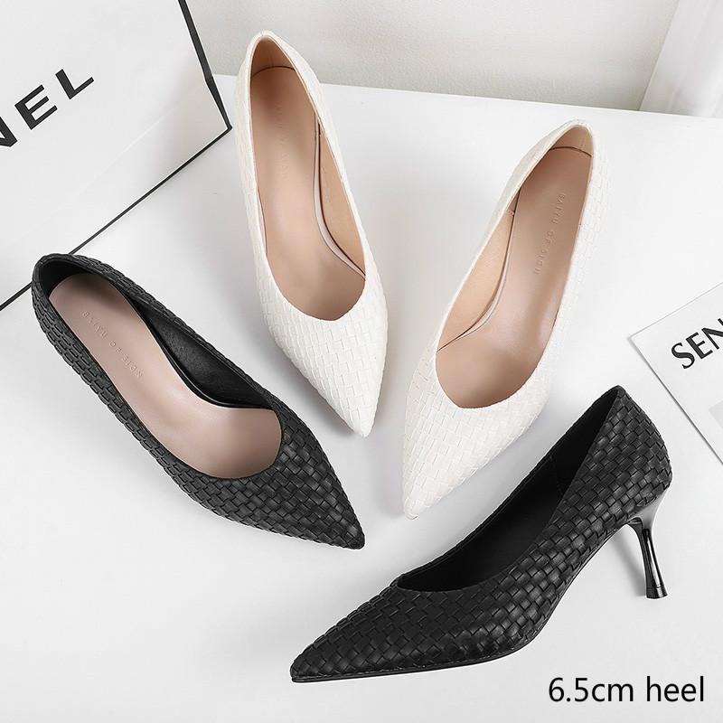 Classic Woman Pumps Small Thin Med Heels 3.5/6.5CM Point Toe Weave Pleated Career Work Elegant Leather High Heel Shoes for Women