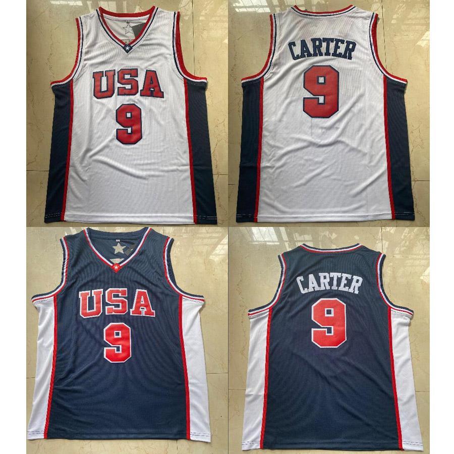 EE.UU. Equipo Juego Olímpico Carter Cartel Caster Basktball Jersey Slam Dunk T Shirts Jerseys Blue White Mens Bordery