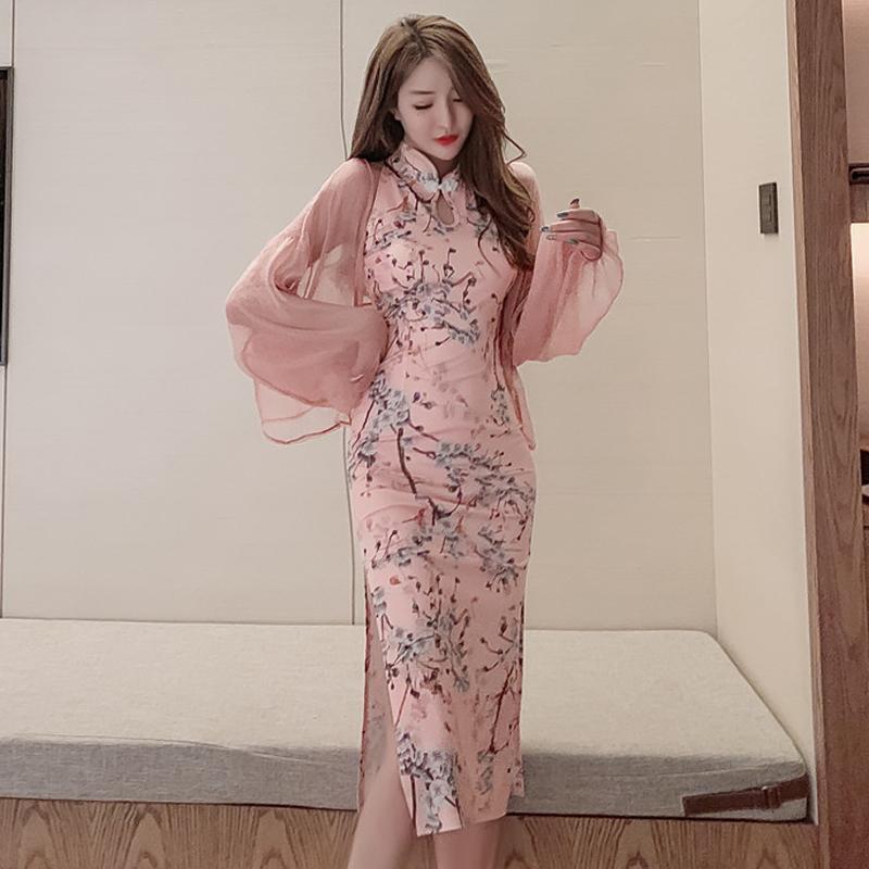 Mujer vestido de noche vestido elegante impreso cheongsam tradicional chino estilo retro qipao fiesta club sexy bodycon asia pacífico islas de la ropa