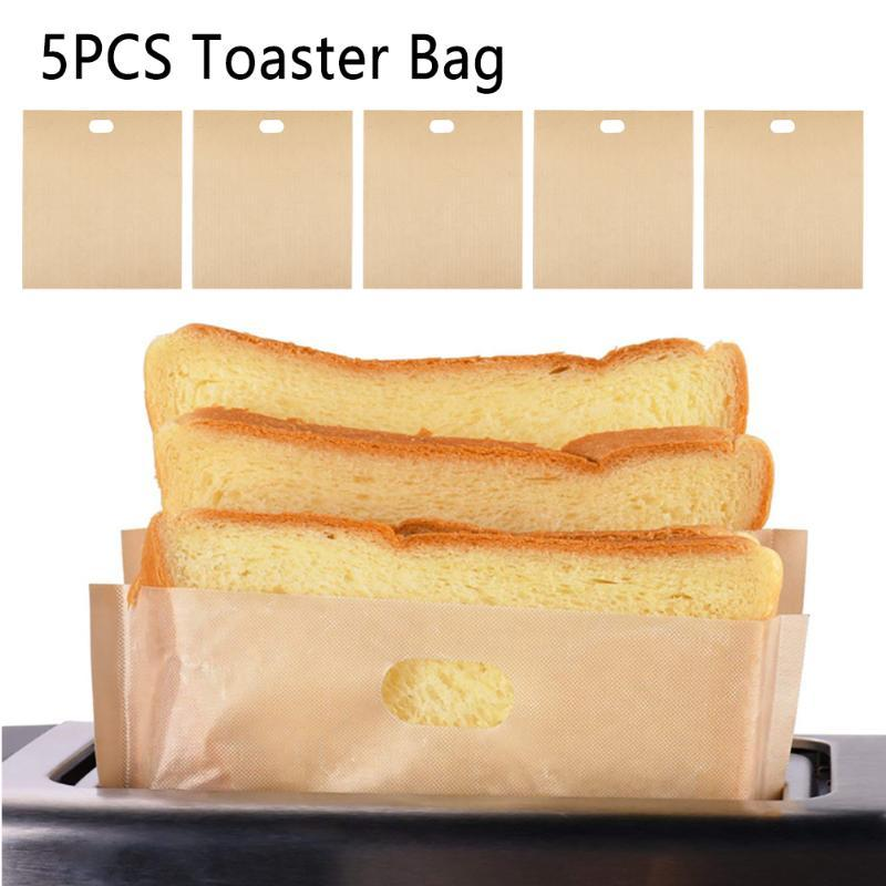5pcs 마이크로 웨이브 코팅 유리 섬유 야채 피자 없음 없음 잔류 물 과자 토스터 가방 재사용 가능한 샌드위치 난방 스틱