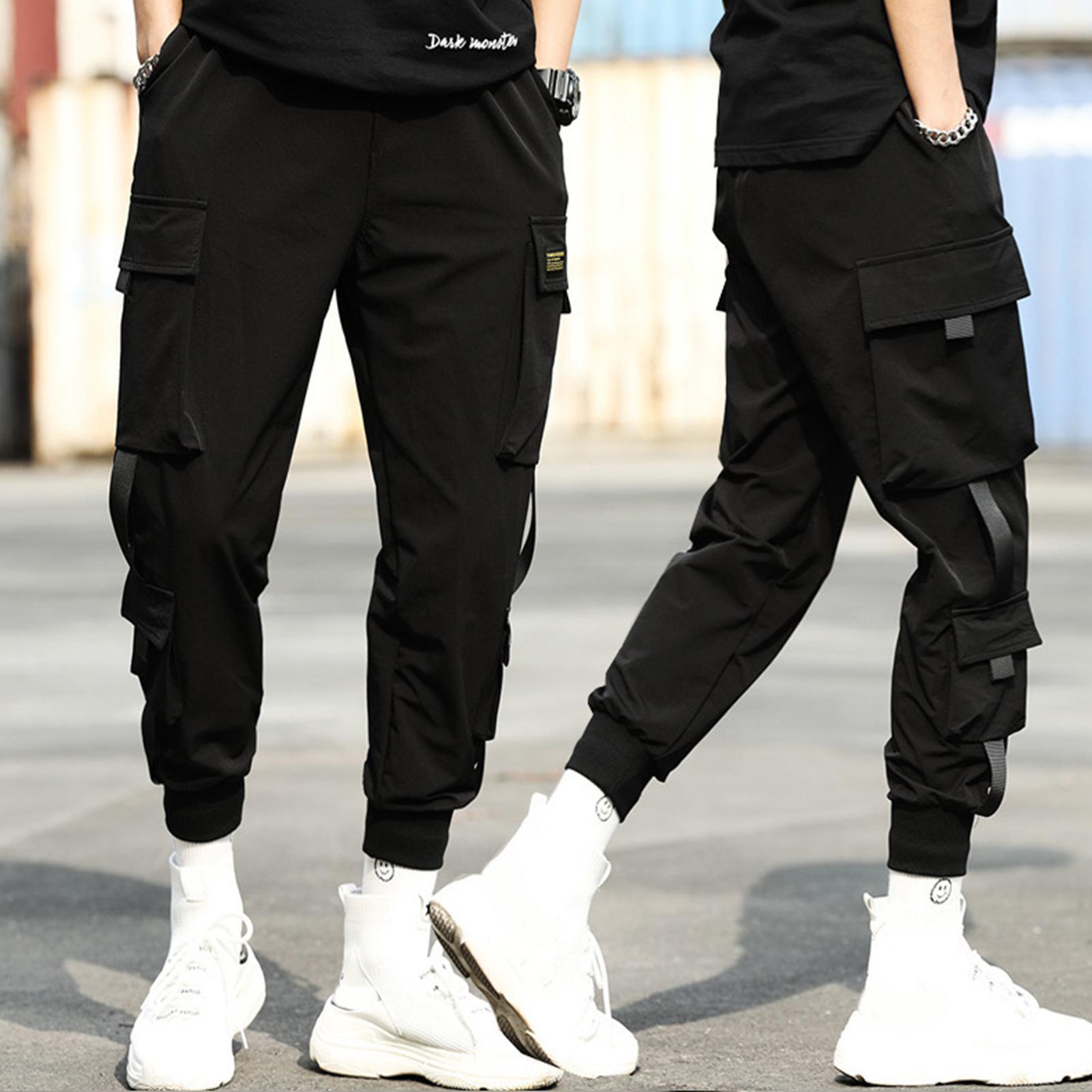 2020 Mode Streetwear Harajuku Nouveau pantalon de cargaison pour hommes Casual Mens Pantalons Hip-Hop Jogging Sports Pures Puissards de Coton C0222