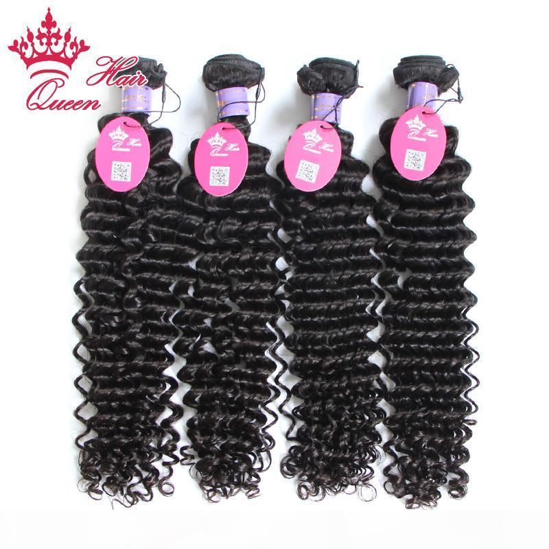 """Cabelo rainha Malásia Virgem Deep Wave Curly Cabelo 100% Virgin Human Hair 8 """"-30"""" 100g PC 4 pcs Lot"""