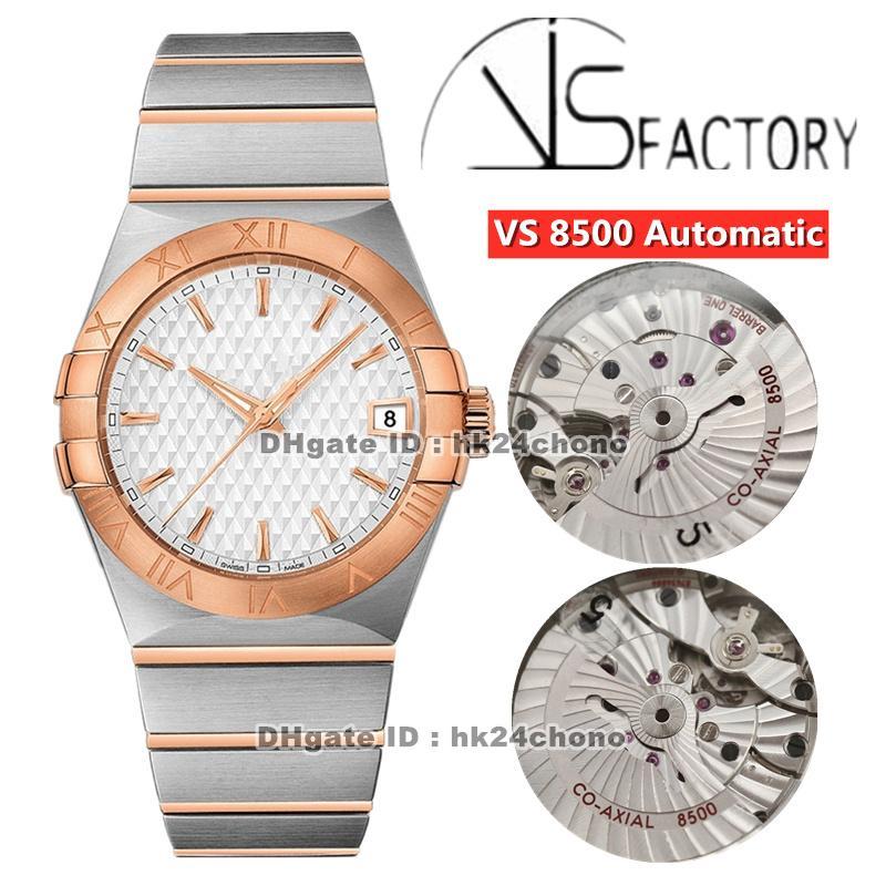 2021 vs 38mm Acero inoxidable CAL.8500 Reloj automático para hombre 123.20.38.21.02.008 Dial blanco Rosa de acero de oro brazalete de dos tonos Gents Watche