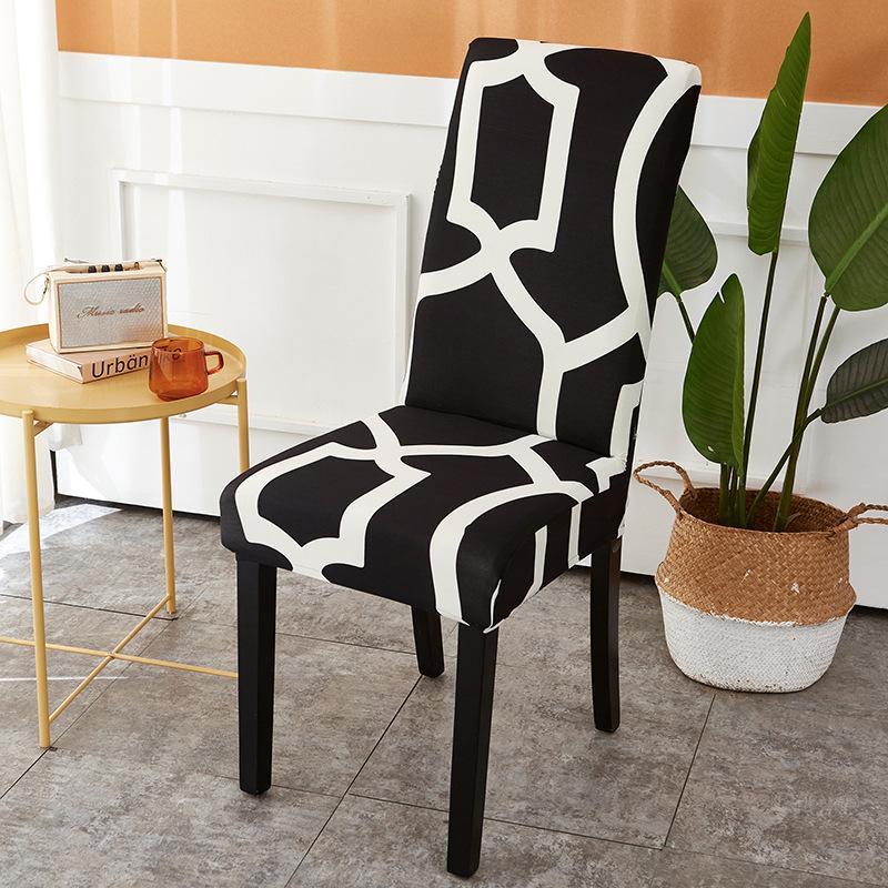 Stuhlabdeckungen geometrischer Abdeckung drucken elastische abnehmbare und waschbare EL-Sitz-Büro-Bankett-Küchen-Hochzeitshocker