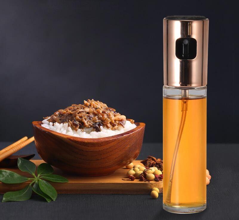 Garrafa de óleo Prensa BBQ Spray Garrafa de vidro Garrafa de óleo de soja molho de molho de vinagre Armazenamento de tempero pode BBQ Sprays garrafas de cozinha ferramentas 100ml gwc7015