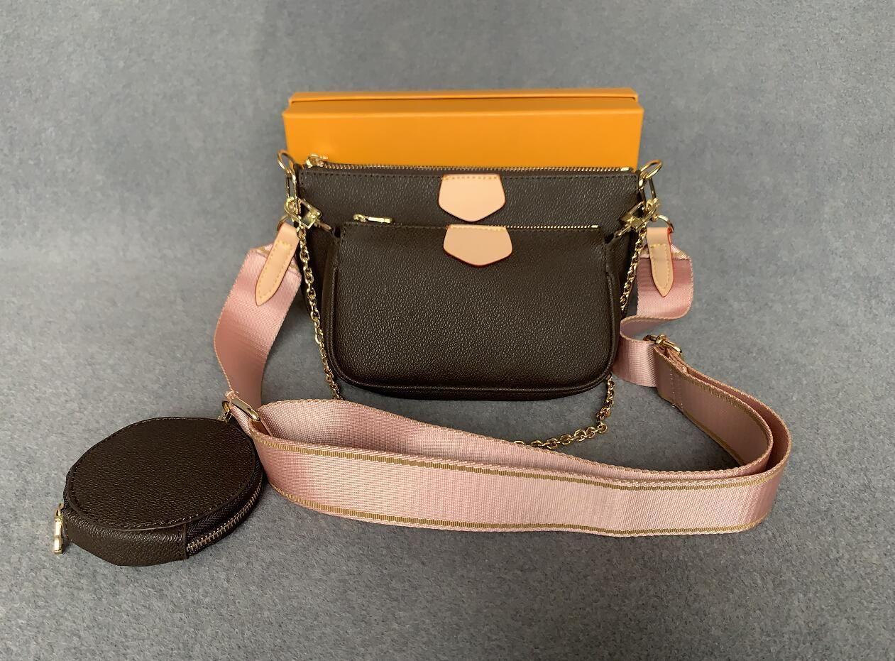 جديد إمرأة المفضلة جلد طبيعي الأزياء حقائب متعددة pochette accessoires المحافظ زهرة مصغرة pochette 3 قطع حقيبة crossbody حقيبة الكتف