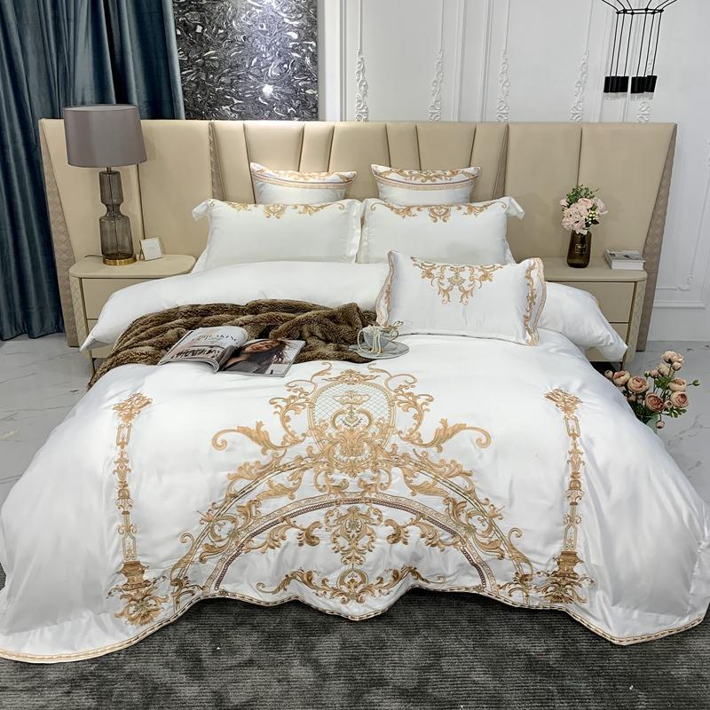 Bedding Sets Luxury White Satin Silk Cotton Gold Royal Embroidery European Wedding Set Duvet Cover Flat/Fitted Sheet Pillowcases