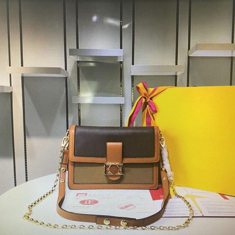 Mini Dauphine Designer de Ombro Sacos de Luxo Tote Bolsas Mulheres Totes Genuíno Couro Reverse Canvas Brown Flor Antiga Bolsa De Moda Moda Bolsa Clássica Chain Bolsa
