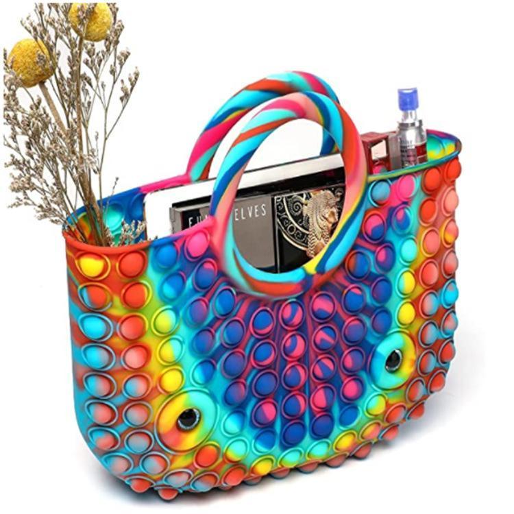 Bolsas de pañales Bolso de silicona para mujer Push Bubble Simpl Dimmer Antistress 2021 Hit Designer Beach Shopper Tote Bolsa A098