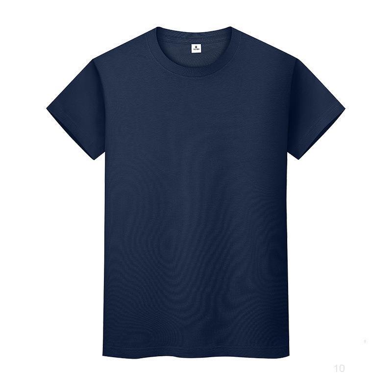 Nouveau t-shirt de couleur solide ronde en coton d'été Chemise à manches courtes à manches courtes et à manches longues WN1Jio