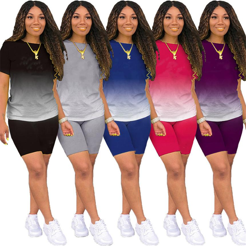 Plus Größe Frauen Trainingsanzug Gardiomittel 2 Stück Sets Kurzarm T-Shirt + Mini Shorts Sommer Kleidung Sexy Outfits Solide Farbe Jogger Anzug 4555