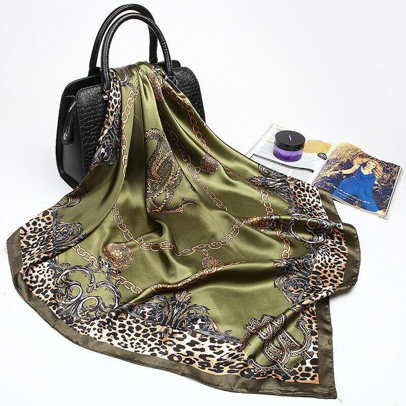 Scarves 5 Colors Women Vintage Silk-like Satin Female Leopard Soft Head Neck Wrap Shawl Thin Scarf