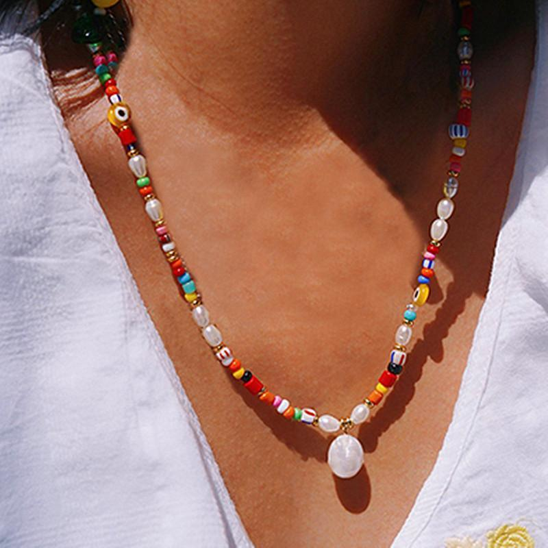 Colares de pingente boho estilo natural pérola colar colorido arroz beads misturar e combinar moda arco-íris longa roupas acessórios olho necklac