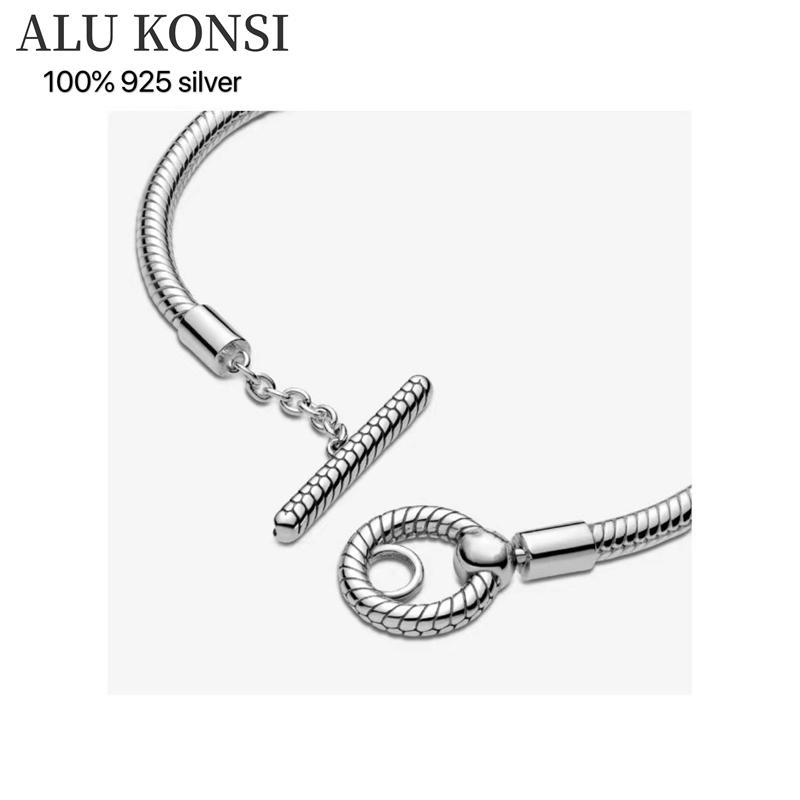 Vente chaude 100% réel 925 Sterling Sterling Pan Bracelet pour Femme Fit Design Original Design Charmes de serpent Bracelet Bricolage DIY Bijoux de haute qualité