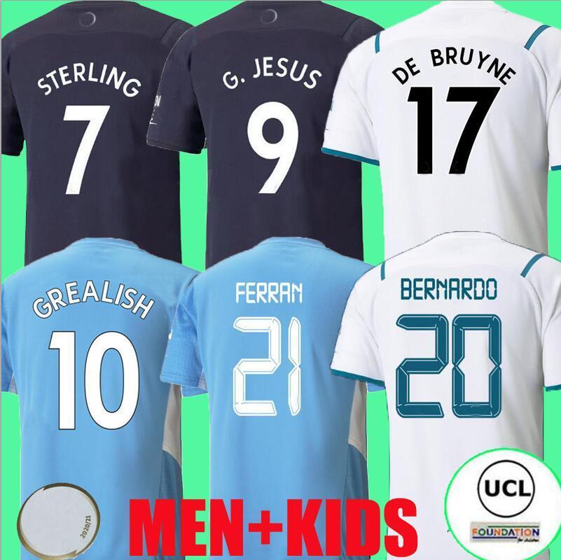 21 22 غريز لكرة القدم جيرسي الاسترليني مانشستر فيران مهريز دي بروين فودن 2021 2022 قمصان كرة القدم رجل موحدة الرجال + أطفال الفتيان مجموعات Rúben مدينة مجموعات G.Jesus أعلى التايلاندية