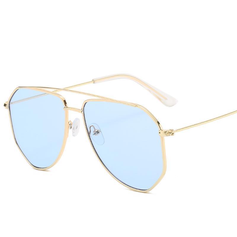Güneş Gözlüğü Marka Tasarım Pilot Güneş Gözlükleri Erkekler Kadınlar Için Metal Çerçeve Sürüş UV400 Pembe Ayna Degrade Gözlükler 2021