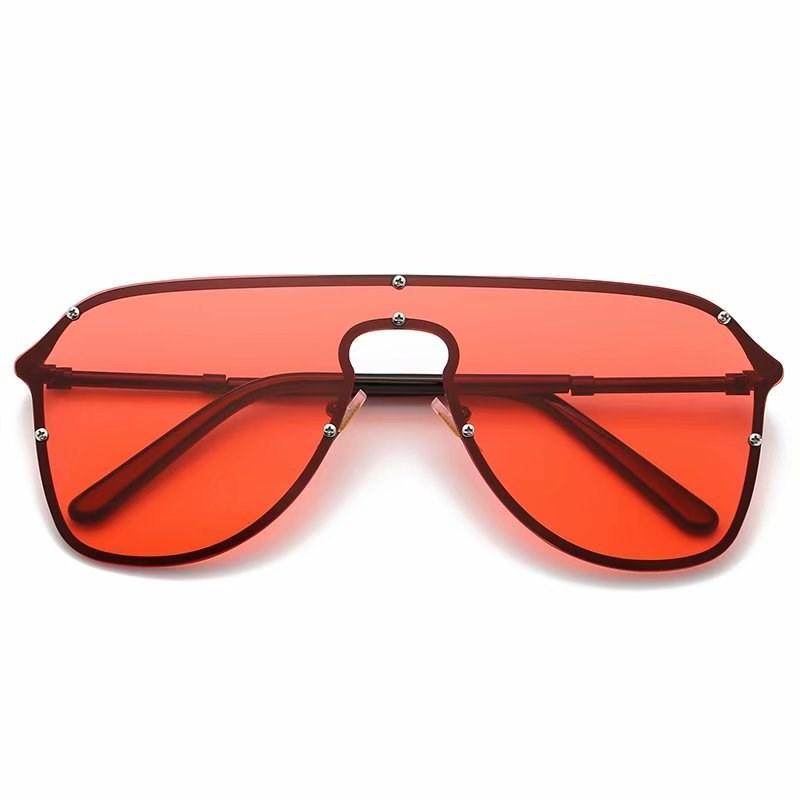 Уникальные негабаритные Солнцезащитные очки Мужчины Винтаж 2021 Один кусок Линзы Желтый Красный Большой Большие Солнцезащитные Очки Большая Рама Женский8802 Ветрозащитный UV400 Продвижение
