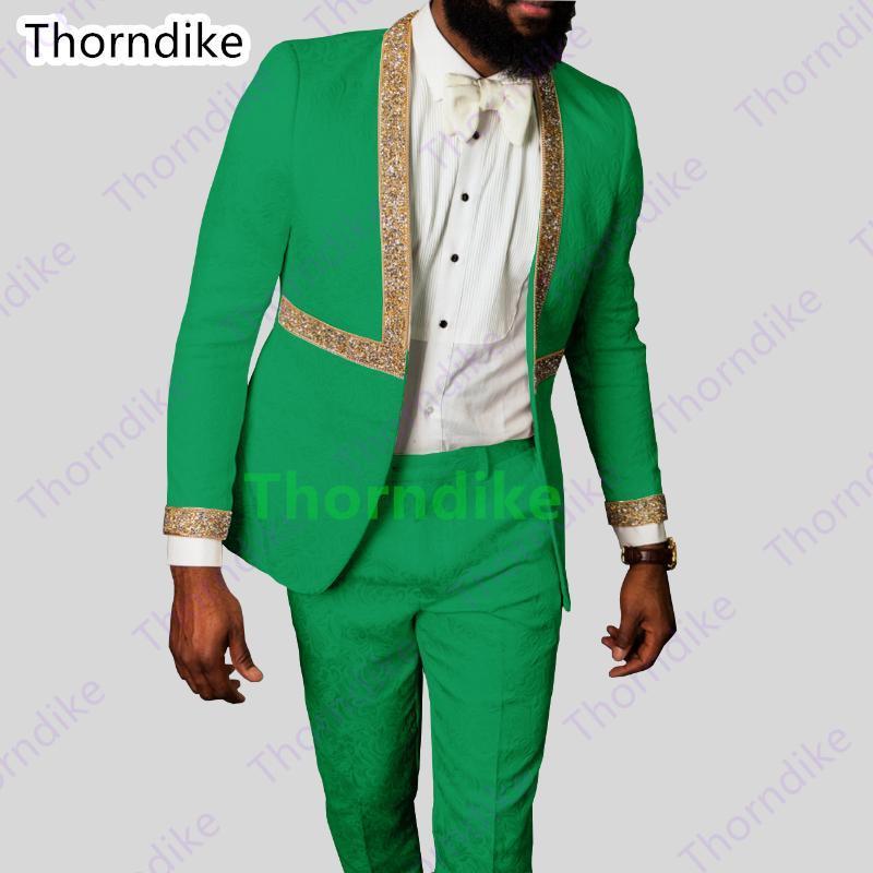 Thorndike Últimas Casamento Green Homens Ternos Fato do Traje TuxeDos Terno Masculino Slim Fit Gold Belt Blazer 2 peças (jaqueta + calças)