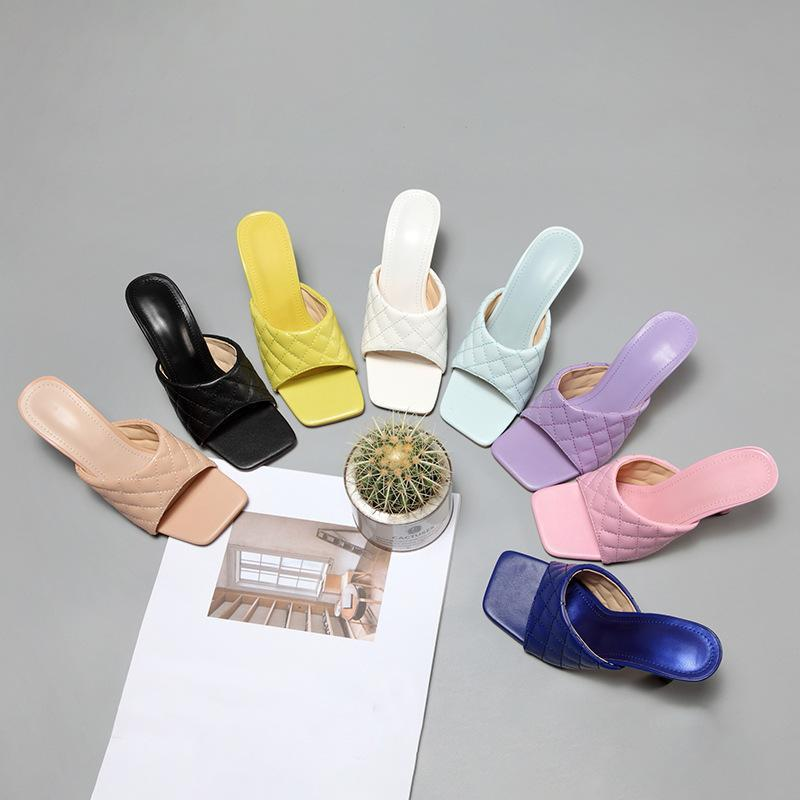 2021 Summer Square Women Slippers Fashion Poe Open Toe Taneal Mules Elegante Femenino Suave Tacones Altos Playa Diapositivas Mujeres Sandalias