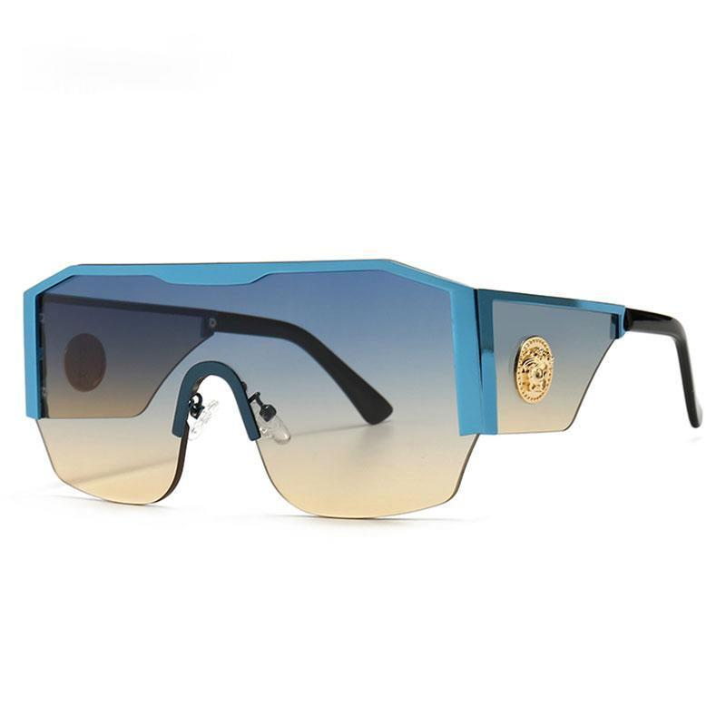 2021 Новые современные негабаритные квадратные солнцезащитные очки мужчины женщины большая кадр цельный объектив солнцезащитные очки градиент вождения унисекс очки UV400